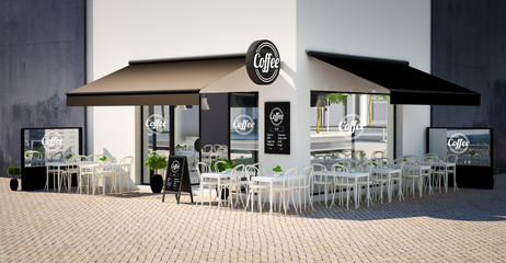 coffee shop facade mockup with branding elements