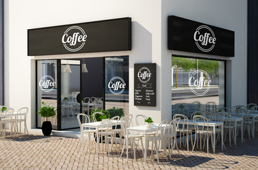 cafe store with terrace on the street mockup
