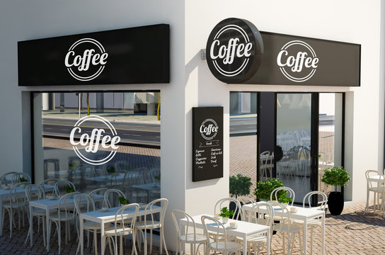 coffee shop facade with signboards and branding elements mockup