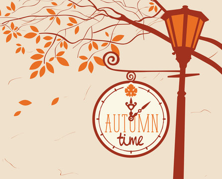 Vector banner with words Autumn time. Autumn landscape with trees in the park and a Clock on a lamp post