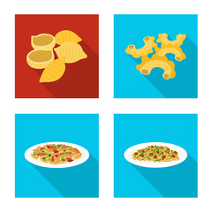 Vector illustration of pasta and carbohydrate icon. Collection of pasta and macaroni stock symbol for web.