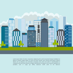 City landscape with high skyscrapers, buildings and transport. Vector illustration.
