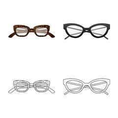 Vector illustration of glasses and frame logo. Collection of glasses and accessory stock vector illustration.