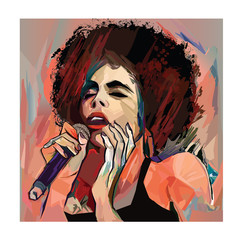 Photo sur Plexiglas Art Studio Jazz singer with microphone