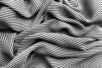 Elegant black and white silk with stripes, texture background Wall mural