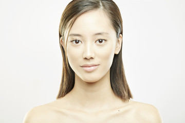 young asian girl with clean face beauty portrait on white background
