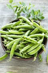 young peas on a wooden background