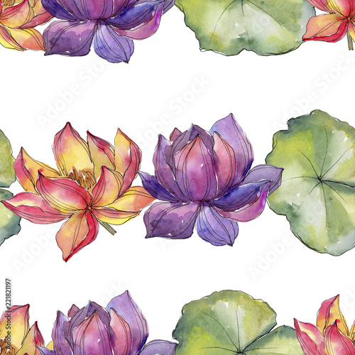 Watercolor colorful lotus flower floral botanical flower seamless watercolor colorful lotus flower floral botanical flower seamless background pattern fabric wallpaper print mightylinksfo