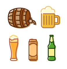 Vector Beer Icons isolated on white. Illustrations in lineart style for beer brewery, pubs and bars.