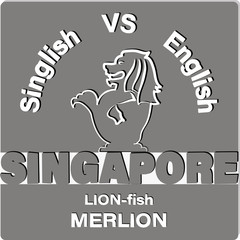 LION-fish MERLION. SINGAPORE. Emblem, a symbol of a carved lion and inscriptions on a gray background. Contrast image.