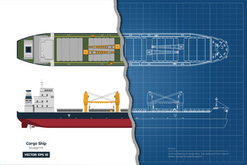 Blueprint of cargo ship on white background. Top, side and front view of tanker. Container boat industrial drawing