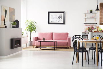 Black chairs at table with flowers in spacious flat interior with poster above pink sofa. Real photo
