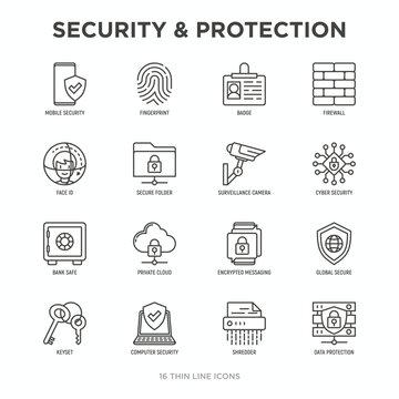 Security and protection thin line icons set: mobile security, fingerprint, badge, firewall, face ID, secure folder, surveillance camera, keyset, shredder, encrypted messaging. Vector illustration.