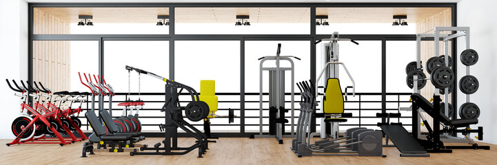 Panorama von Fitnesscenter mit Geräten