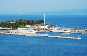 View on the Ferry port of Split from Marjan park.