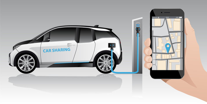 Hand with phone on a background of white carsharing electric car with charging station. Vector illustration EPS 10