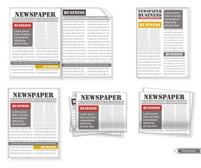 Newspaper set Vector realistic. 3d detailed illustrations