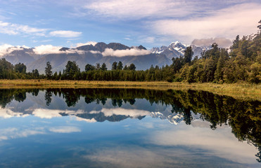 Lake Matheson with mountains reflection in the water, New Zealand