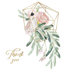 Watercolor olea floral illustration - olive branch, blush flower bouquet with gold geometric shape, for wedding stationary, greetings, wallpapers, fashion, background.