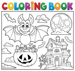 Poster Voor kinderen Coloring book Halloween bat theme 2
