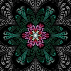 Beautiful Symmetrical fractal mandala, flower or butterfly, digital artwork for creative graphic design