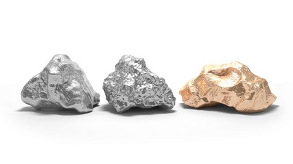 Silver and gold nuggets on a white background. 3d rendering