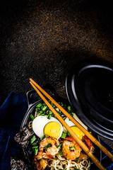 Ramen soup with shrimp