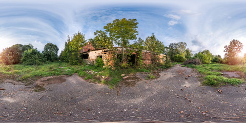 full seamless spherical panorama 360 degrees angle view near stone abandoned ruined farm building in equirectangular projection, VR AR virtual reality content