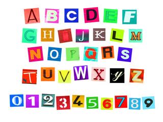Colorfur newspaper alphabeth and number
