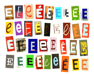 Colorfur newspaper letter E on white