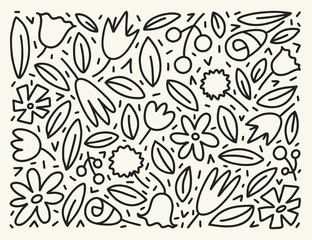 Doodle simple vector hand drawn pattern with leafs and flowers. Nature outline background