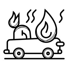 car fired Vehicle insurance Icon