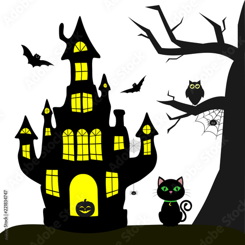 Stupendous Happy Halloween Witch Castle Black Cat Tree Owl Flying Download Free Architecture Designs Scobabritishbridgeorg