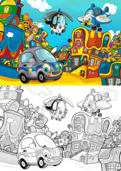 cartoon scene with police car driving police plane and helicopter flying in the city - with artistic coloring page - illustration for children
