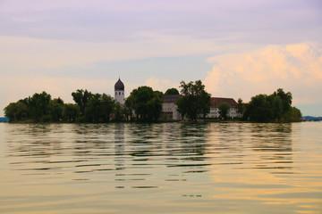 Beautiful view to Fraueninsel, Sundown at Lake Chiemsee, Bavaria - Germany