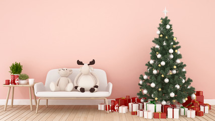 Baby animal doll on sofa , Christmas tree and gift box in living room on pink tone -  artwork for Christmas day or happy new year- 3D Illustration