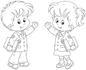 Schoolgirl and schoolboy holding textbooks and waving their hands in greeting, black and white vector illustration in a cartoon style