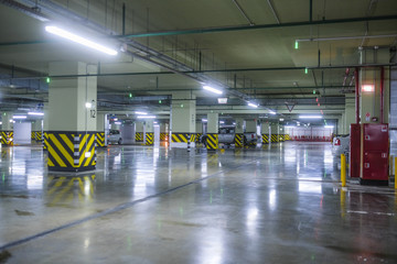 Moscow, Russia - September, 10, 2018: cars on a underground parking in Moscow, Russia