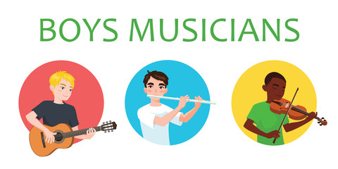 Musicians boys is inspired to play different musical instruments. Violinist, flutist, guitarist. Vector illustration in flat cartoon style on white background for your design, print. Music class.