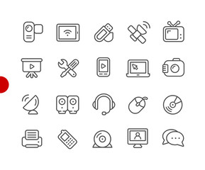 Communication Devices and Tools // Red Point Series - Vector line icons for  your digital or print projects.