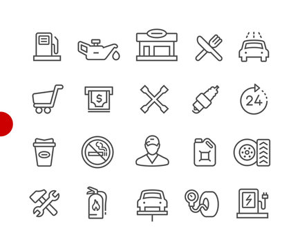 Gas Station Icons // Red Point Series - Vector line icons for  your digital or print projects.