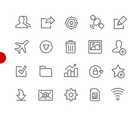 Web & Mobile Icons 2 // Red Point Series - Vector line icons for  your digital or print projects.