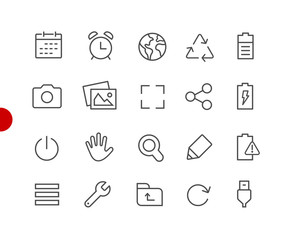 Web & Mobile Icons 3 // Red Point Series - Vector line icons for  your digital or print projects.