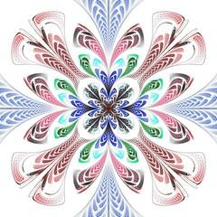 Beautiful Symmetrical fractal Blue mandala, flower or butterfly, digital artwork for creative graphic design