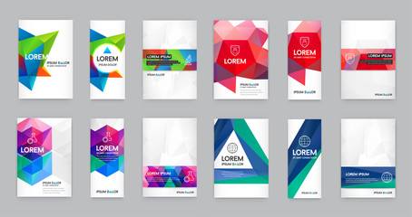 Big Set of Visual identity with letter logo elements polygonal style Letterhead and geometric triangular design style brochure cover template mockups for business with Fictitious names