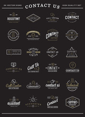 Big Set of Contact us Service Elements and Assistance Support can be used as Logo or Icon in premium quality