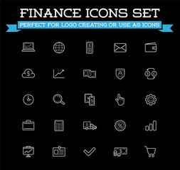 Set of Vector Banking Finance Money Icons. Payments and Income. Richness. Can be used as Logo or Icon in premium quality