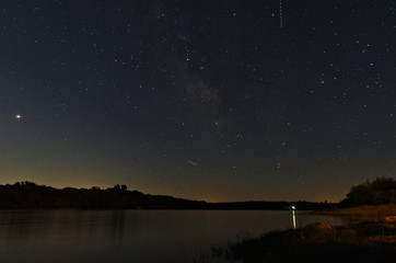 Povoa e Meadas dam at night. Astrophotography in Castelo de Vide, Portugal