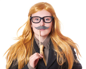 young woman with fake moustache dressed up as a man