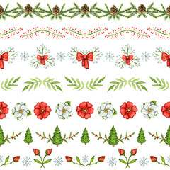 Seamless pattern with Christmas borders on white background. Watercolor hand drawn illustration